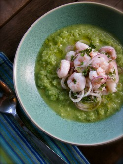 Cucumber Gazpacho with Shrimp Basil and Lime Recipe