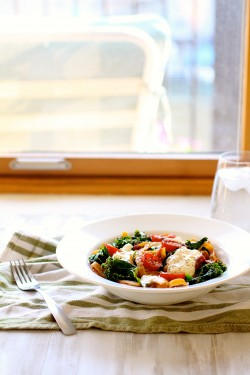 Fettucine with Seared Tomatoes Kale Burrata Recipe