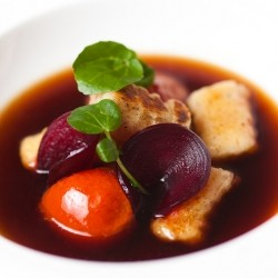 Gnocchi Beets Tomatoes in Mushroom Consomme Recipe