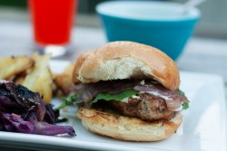 Grilled Chicken Sandwiches with Red Wine Onions and Lemon Chive Aioli