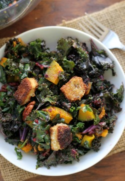 Kale Salad with Brie Croutons Roasted Winter Squash Pecans and Cranberry Vinaigrette Recipe