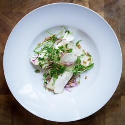King Mushrooms Pickled Red Onions Spelt and Pea Shoots Recipe