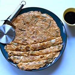 Korean Kimchi Pancake with Chicken