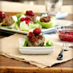 Lettuce Wrapped Meatballs with Cranberry Compote