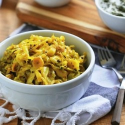 Spicy Indian Cabbage with Mustard Garlic Turmeric