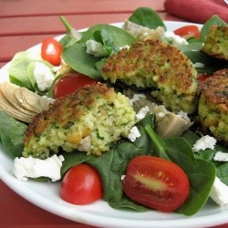 Spinach Salad with Couscous Cakes