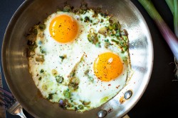 Spring Garlic Fried Eggs in Browned Butter Sauce