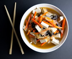 Vegetable Miso Soup with Tofu Rice Noodles Recipe