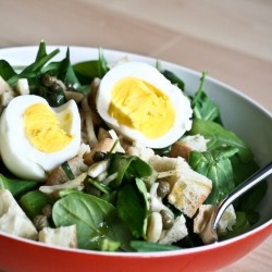 Arugula and Bread Salad with Tarragon Caper Vinaigrette