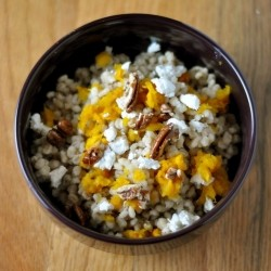 Barley with Roasted Pumpkin Goat Cheese and Toasted Pecans