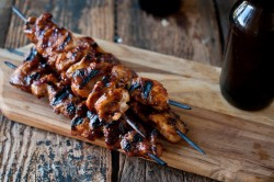 Beer Brined Stout Sriracha Glazed Chicken Skewers Recipe