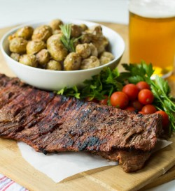 Bloody Mary Skirt Steak with Parmesan Roasted Potatoes Recipe