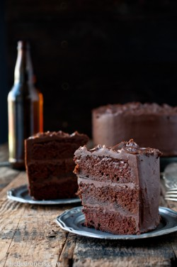Chocolate Stout Cake with Chocolate Bourbon Sour Cream Frosting Recipe