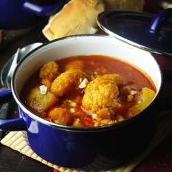 Curried Cauliflower and Potato Stew with Toasted Peanuts