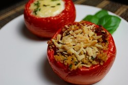 Egg Parmesan Stuffed Tomatoes