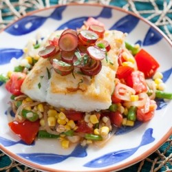 Fresh Cod with Pickled Grapes and Summer Succotash Recipe