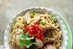 Fried Ginger Scallion Noodles with Beef Recipe