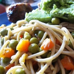 Green Curry Guacamole Pasta and Meatballs