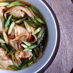 Mushroom Wontons in Lemongrass Broth