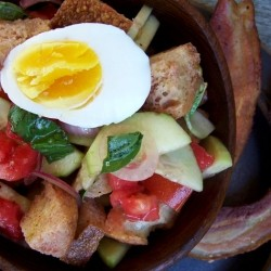 Panzanella Salad with Bacon and Eggs