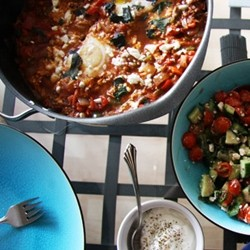 Poached Eggs and Feta Cheese Shakshuka