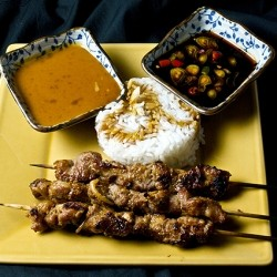 Pork Sate with Peanut and Sweet and Sour Sauces