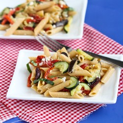 Roasted Vegetable Pasta Salad with Eggplant Zucchini Feta Recipe