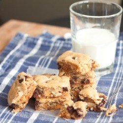 Salted Dark Chocolate Butterscotch Cookie Bars Recipe