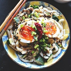 Sauteed Zucchini and Udon with Toasted Sesame Miso Dressing and Softboiled Egg Recipe