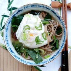 Soba Noodles Soup with Poached Egg Recipe