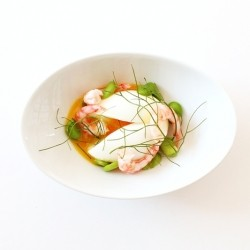 Soft Boiled Eggs with Broad Beans Dill and Shrimp