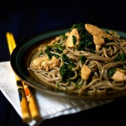 Sweet Potato Buckwheat Noodles with Chicken and Chile Recipe