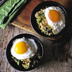 Veggie Cheese Quinoa with Runny Eggs Recipe