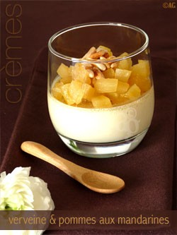 Verbena cream with apple and mandarin compote