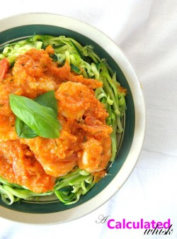 Zucchini Noodles with Garlic Basil Shrimp Sauce