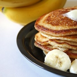 Banana Pancakes with Peanut Butter Syrup Recipe