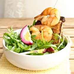 Bombay Lunch Salad with Beet Pickled Eggs and Shrimp Recipe