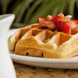 Buttermilk Banana Waffles with Strawberries