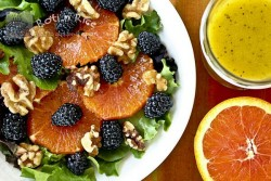Cara Cara Orange Blackberry Salad with Orange Poppy Seed Vinaigrette