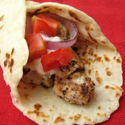 Chicken Gyros in Homemade Flatbread