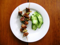 Chicken Yakitori with Cucumber Salad