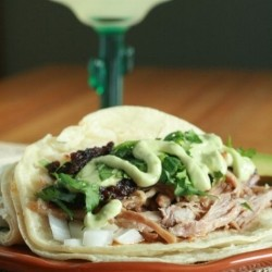 Chipotle Tacos de Carnitas with Avocado Crema Recipe