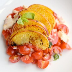 Chopped Caprese with Charred Peaches Recipe