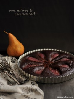 Dark Chocolate Cake with Spiced Red Wine Poached Pears and Red Wine Sauce Recipe