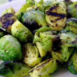 Grilled Brussels Sprouts in Dijon Mustard Sauce