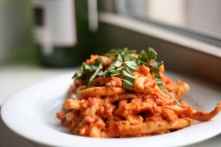 Homemade Pasta with Tomato Cream Sauce