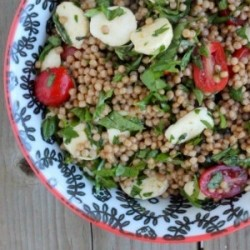 Israeli Couscous with Tomato Mozzarella Salad Recipe