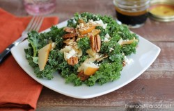 Massaged Kale Apple Pear Roasted Pecan Gorgonzola Salad