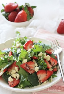 Mixed Baby Greens with Strawberries and Poppy Dressing