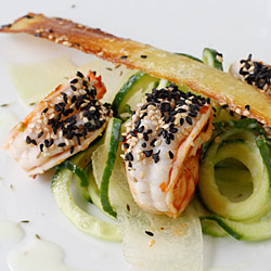 Prawn with melon-cucumber salad and sesame tuiles